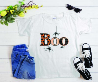 BOO with Spiders Halloween T-Shirt