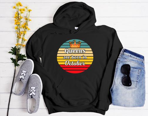 Queens are born in October Birthday Retro Vintage Style Hoodie