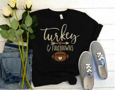 Turkey And Touchdowns Football T Shirt