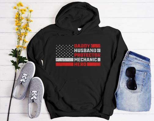 Daddy Husband Protector Mechanic Hero Hoodie