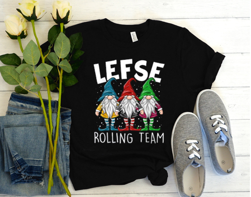 Lefse Making Team Gnome Lover Tomte Baking Rolling T Shirt