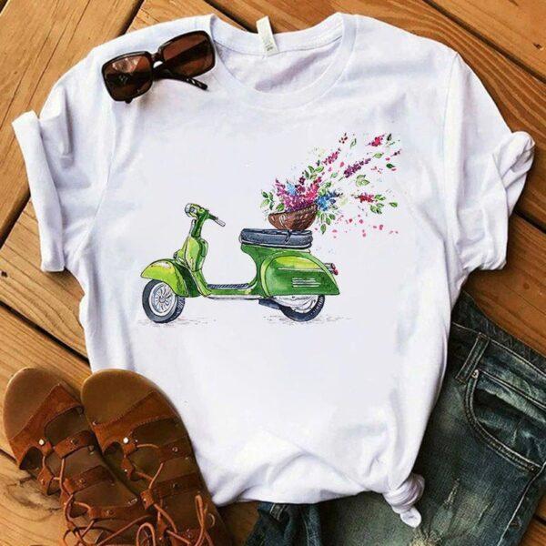 Green Scooter Flower T Shirt