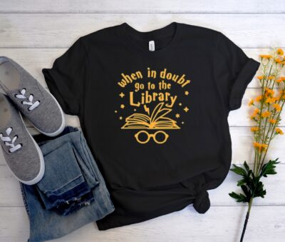Harry Potter When in doubt Go to the Library Unisex Trending Graphic Shirt